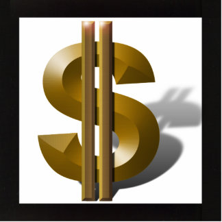 Gold Dollar Sign Statuette