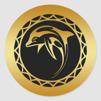 GOLD DOLPHIN ROUND STICKERS