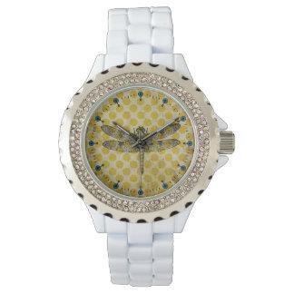 Gold Dot Dragonfly White Enamel Watch