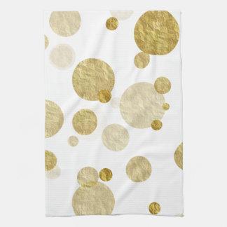 Gold Dot Faux Foil Sequin Bokeh Background Dots Hand Towels
