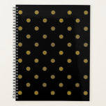 "Gold Dot Notebook Planner<br><div class=""desc"">Background color is customizable.</div>"