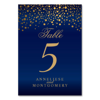 Gold Dots and Navy Blue Satin - Table Number