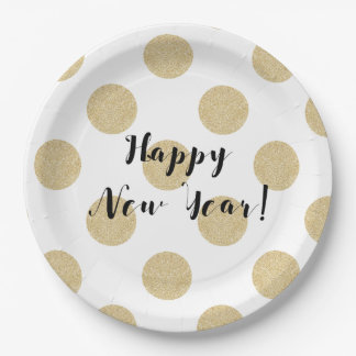 Gold Dots Black & White Modern New Years Eve Paper Plate