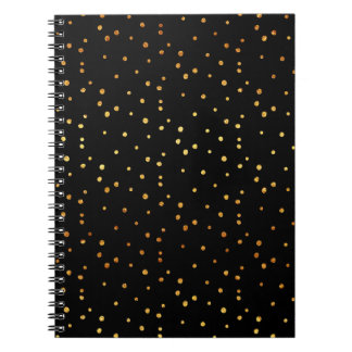 Gold Dots Confetti Faux Foil Metallic Dot Black Spiral Notebook