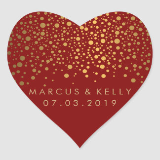 Gold Dots Confetti on Maroon | Wedding Heart Sticker