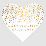 Gold Dots Confetti | Wedding Heart Sticker at Zazzle