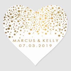 Gold Dots Confetti | Wedding Heart Sticker