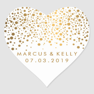 Gold Dots Confetti | Wedding Heart Sticker