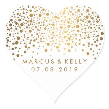 designsbydonnasiggy Gold Dots Confetti | Wedding Heart Sticker