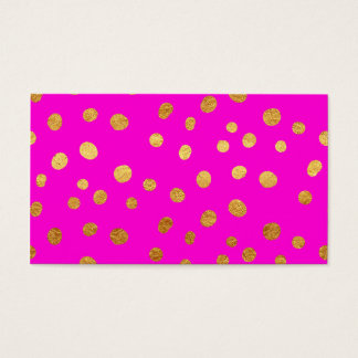 Gold Dots Faux Foil Hot Pink Magenta Pattern Business Card
