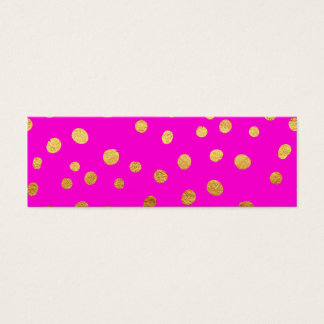 Gold Dots Faux Foil Hot Pink Magenta Pattern Mini Business Card