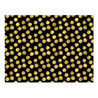 Gold Dots Faux Foil Metallic Black Background Dot Postcard