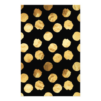 Gold Dots Faux Foil Metallic Black Background Stationery
