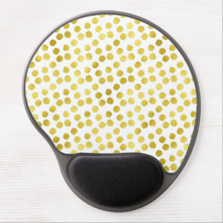 Gold Dots Faux Foil Metallic White Background Gel Mouse Pad