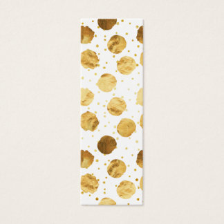 Gold Dots Faux Foil Metallic White Background Mini Business Card
