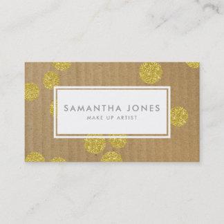 Gold Dots Kraft Paper Modern Make Up Artist Business Card