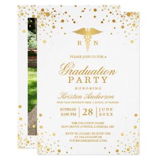 Gold Dots Medical Nursing School Graduation Party Card at Zazzle