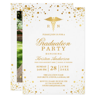 Gold Dots Medical Nursing School Graduation Party Card