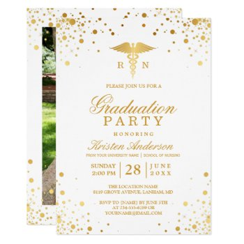 Gold Dots Medical Nursing School Graduation Party Card by CardHunter at Zazzle