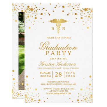 Beach Themed Gold Dots Medical Nursing School Graduation Party Card