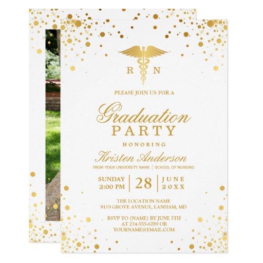 Gold dots medical nursing school graduation party invitation gold dots medical nursing school graduation party invitation filmwisefo
