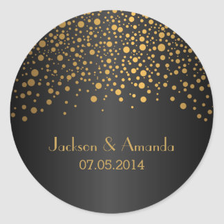 Gold Dots on Black | Personalize Classic Round Sticker