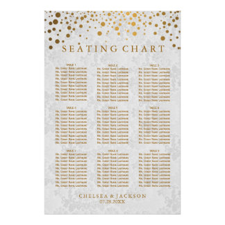 Gold Dots on Texture Damask - 9 Seating Chart
