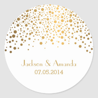 Gold Dots on White | Personalize Classic Round Sticker