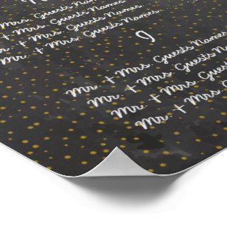 Gold Dots Wedding Chalkboard Guest Seating Chart