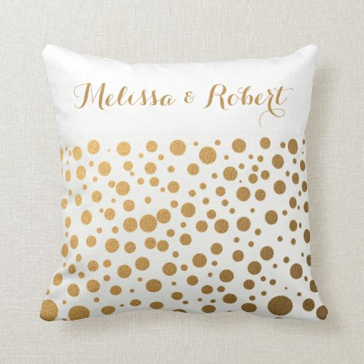 Gold Dots Wedding Keepsake Pillows|Couple Names Throw Pillow