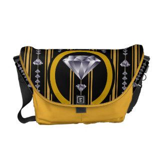 Gold Double Diamond Courier Bag