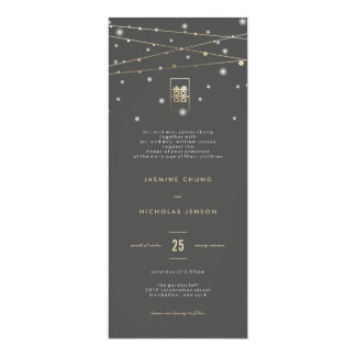 Gold Double Happiness Fairy Lights Chinese Wedding 4x9.25 Paper Invitation Card