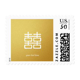 Gold Double Happiness Lanterns Oriental Postage
