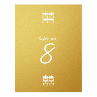 Gold Double Happiness Lanterns Wedding Table Cards