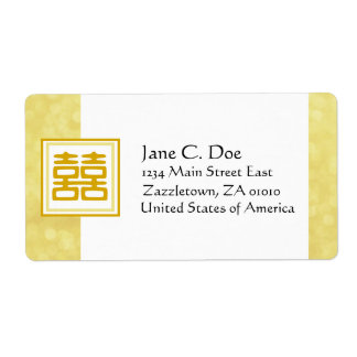 Gold • Double Happiness • Square Shipping Label