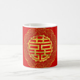 Gold Double Happiness Symbol in Peony Frame Coffee Mug