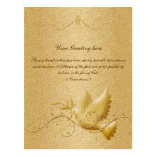 Gold dove of peace bible verse christian greeting postcard