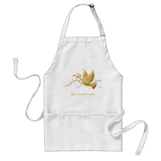 Gold dove of peace chefs & caterers Christmas apro Adult Apron