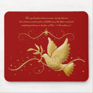 Gold dove of peace christian mousemats & mousepads