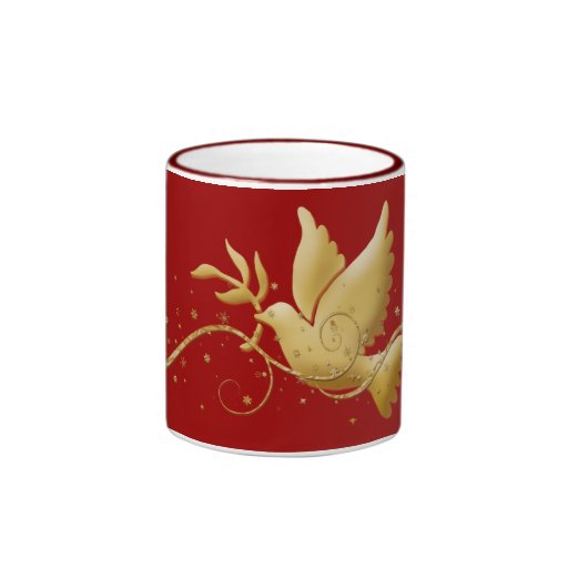 Gold dove of peace Christmas coffee mugs & cups