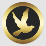 GOLD DOVE ROUND STICKER