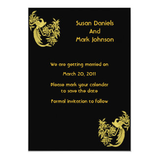 Gold Doves On Black Wedding Save The Date Card