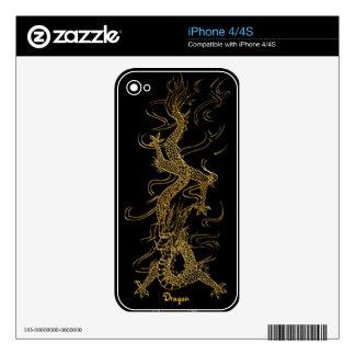 Gold Dragon 2 Asian Fantasy Art iPhone 4 Skin