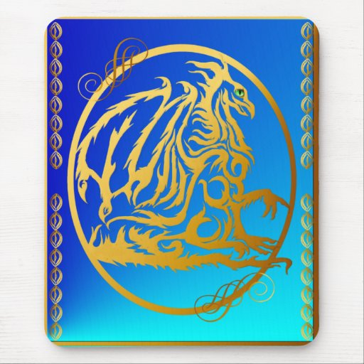 Gold Dragon 3 Vertical Mousepad