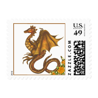 Gold Dragon and Rose Postage Stamp