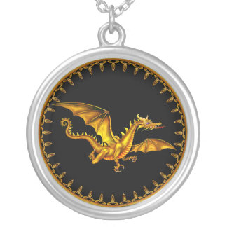gold dragon black ground silver plated necklace