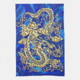 Gold Dragon Blue Satin Lush Kitchen Towel (<em>$18.95</em>)