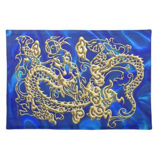 Gold Dragon Blue Satin Lush Placemat