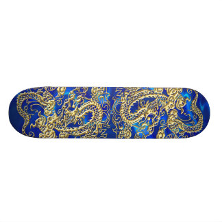 Gold Dragon Blue Satin Lush Skateboard