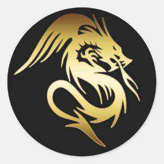 GOLD DRAGON CLASSIC ROUND STICKER